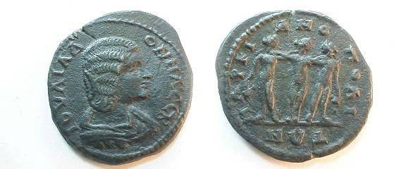 Ancient Coins - Julia Domna Æ25 of Marcianopolis, Moesia Inferior. the Three Graces.