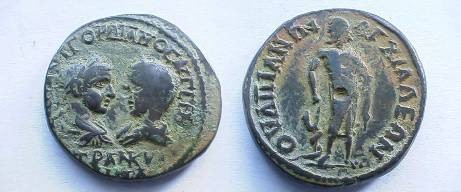 Ancient Coins - Gordian III & Tranquillina AE27 of Anchialus. Asklepios standing facing, head left, with serpent climbing staff to left.