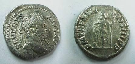 Ancient Coins - Septimius Severus Denarius.  PM TRP XVII COS III P P, Neptune standing left, holding a trident, foot on globe.
