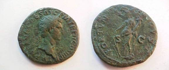 Ancient Coins - Nerva Æ dupondius.  FORTVNA AVGVST S-C, Fortuna standing left, holding rudder and cornucopia.
