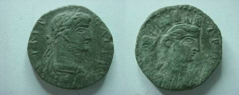 Ancient Coins - Gallienus AE20 of Alexandria Troas.  TROA, turreted bust of of Tyche right, vexillum behind.