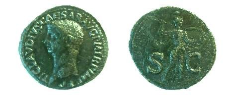 Ancient Coins - Claudius As.  S-C across field, Minerva standing right, brandishing spear and holding shield on left arm.