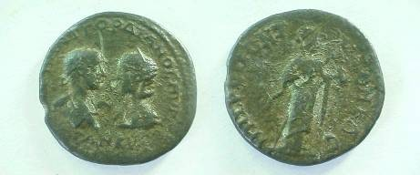 Ancient Coins - Gordian III & Tranquillina AE29 of Tomis.  Hygeia standing right, feeding serpent held in her arms.