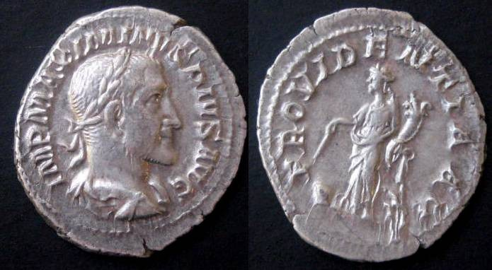 Ancient Coins - Maximinus I Denarius. PROVIDENTIA, Providence standing left with cornucopiae & wand pointed at globe at foot.