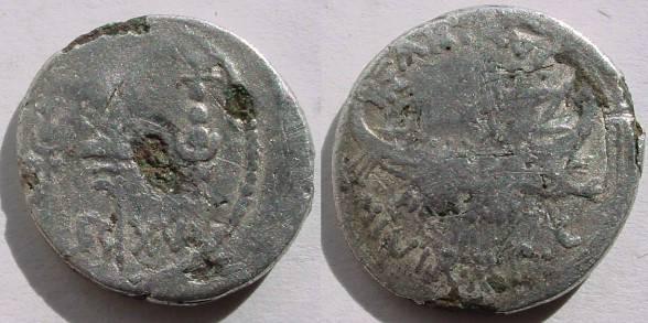 Ancient Coins - Marc Antony Legionary  FOREE' Denarius. LEG XVI.ILegio XVI Gallica