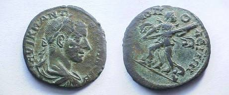 Ancient Coins - Gordian III AE26 of Hadrianopolis, Thrace. Artemis advancing left with long torch.