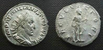 Ancient Coins - Aemilian AR Antoninianus. Hercules standing right leaning on club, holding bow, lion's skin over left arm. RIC 3b, RSC 13.