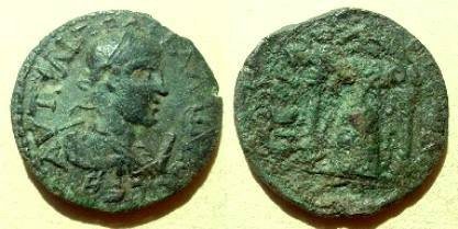 Ancient Coins - Gallienus  Æ30 10-assaria of Pamphylia, Perga.  Cult figure of Artemis Phosphoros within distyle temple.