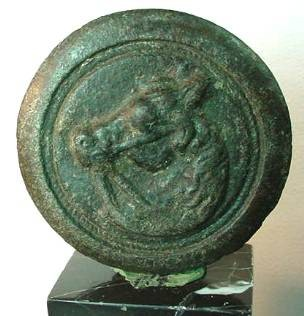 Ancient Coins - Roman bronze applique, possibly part of a cavalry horse's armor.  55mm diameter.