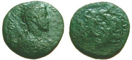 Ancient Coins - Commodus AE26 of Hadrianopolis, Thrace. Hercules battling with the horses of Diomedes. Jurukova 110cf.