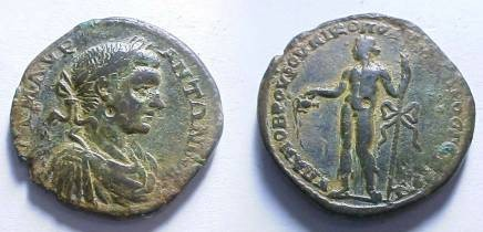 Ancient Coins - Elagabalus AE28 of Nikopolis ad Istrum.  Dionysos standing left, pouring wine from kantheros and holding thyrsos.