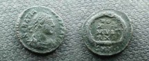 Ancient Coins - Gratian AE14 Follis.  EF WITH BEAUTIFUL APPLE GREEN PATINA and Scarce.