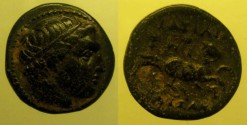 Ancient Coins - Macedon, Kings of. Philip II. 359-336 BC. Æ - 18mm. Diademed head of Apollo right / BASILEWS above, FILIPPOU ? below,