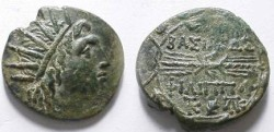 Ancient Coins - Philip V of Macedonia Æ 24mm.  BASILEWS FILIPPOU, thunderbolt, monograms above and below, all within oak wreath.