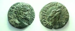 Ancient Coins - Septimius Severus AE20 of Markianopolis.  Hercules wresting the Nemean Lion left.