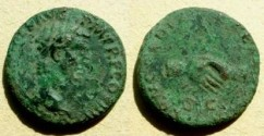 Ancient Coins - Nerva AE As.  CONCORDIA EXERCITVVM, clasped hands, SC below.
