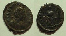 Ancient Coins - Aelia Eudoxia, wife of Arcadius.AE3. Cyzicus Mint.