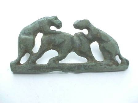 Ancient Coins - Roman bronze brooch of two Panthers attacking an elephan.  1st-3rd century AD.