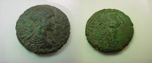 Ancient Coins - Nicopolis ad Istrum. Diadumenian Æ28. Hercules grasping  hydra with his lefr hand and preparing to strike it with his club