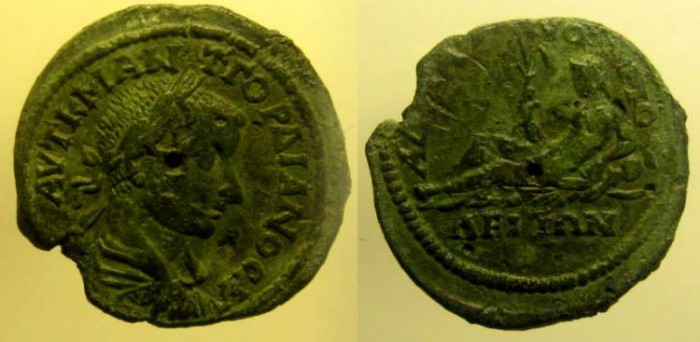 Ancient Coins - Moesia Inferior, Nikopolis ad Istrum. Gordian III. 238-244 AD. Æ28 river god reclining left
