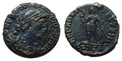 Ancient Coins - Procopius AE3. 364-367 AD. Emperor standing facingi, head left, holding spear & sheild, CONSA in ex.