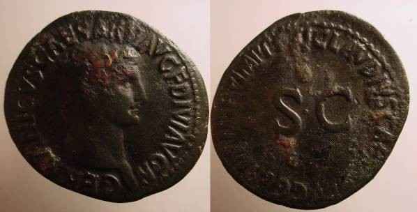 Ancient Coins - Germanicus Æ As struck under Claudius. TI CLAVDIVS CAESAR AVG GERMANI IMP P P around large SC.