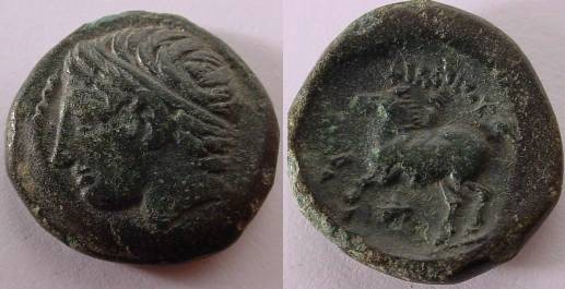 Ancient Coins - PHILIP II,359-336B.C.AE18.Hd. of Apollo.Beautiful green patina. EF.