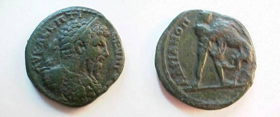 Ancient Coins - Septimius Severus AE26 of Hadrianopolis. Hercules strangling the Namean lion.