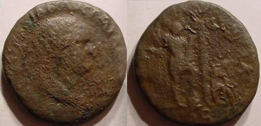 Ancient Coins - Vespasian AE Sestertius. 71 AD. IVDEA CAPTA.Vespasian standing right, left foot on helmet,Jewess, in attitude of mourning, seated right on cuirass