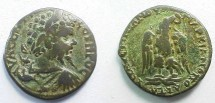 Ancient Coins - Septimius Severus AE27 of Markianopolis.  Eagle standing facing on thunderbolt, head right, wreath in its beak.