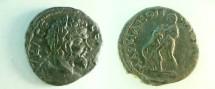 Ancient Coins - Septimius Severus AE20 of Marcianopolis, Moesia Inferior.  Hercules standing left, wrestling Nemean lion.
