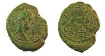 """Ancient Coins - Commmodus AE21 of Nikopolis ad Istrum.  <font face=""""SYMBOL"""">NIKOPOLEITWN</font>, she-wolf right suckling Romulus & Remus."""