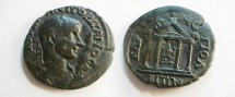 Ancient Coins - Gordian III Æ 27mm of Hadrianopolis. Tetrastyle temple containing standing figure of Tyche.