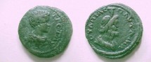 Ancient Coins - Geta AE20 of Pautalia, Thrace.  Draped bust of Serapis right.