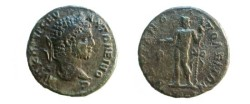 Ancient Coins - Caracalla AE27 of Hadrianopolis, Thrace.  Dionysos standing left with bunch of grapes & thyrsos.