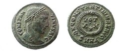 Ancient Coins - Constantine I AE3,  324 AD.  DN CONSTANTINI MAX AVG around VOT XX * in wreath, SMHA in ex.