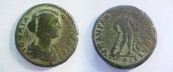 Ancient Coins - Julia Domna AE27 of Nikopolis ad Istrum.  Hercules standing right, leaning on club, holding lion skin and Apples of the Hesperides.