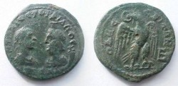 Ancient Coins - Gordian III & Serapis AE28 of Odessos, Thrace.  Eagle standing facing, head left, with wreath in its beak.