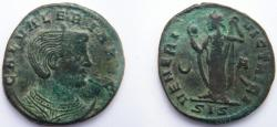 Ancient Coins - Galeria Valeria, wife of Galerius, 305-311 AD.  AE Follis. VENVS VICTRICI, Venus standing left holding apple