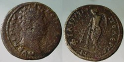 Ancient Coins - Marcus Aurelius, AE19, Philippopolis.Winged figure of Thanatos (personification of death),  Genius of Death, standing right, holding with both hands burning inverted brand .Rare