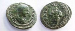 Ancient Coins - Diadumenian AE20 of Markianopolis.  Bunch of grapes on a stem.
