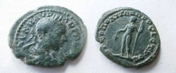 Ancient Coins - Elagabalus AE20 of Nikopolis, Moesia Inferior.  Dionysos standing left with bunch of grapes & thyrsus.