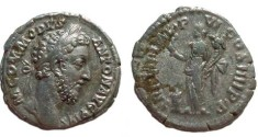 Ancient Coins - Commodus Denarius,  183-184AD.  P M TR P VIIII IMP VI COS IIII P P, Felicitas standing left holding caduceus & cornucopiae, modius at foot left.