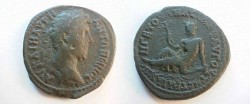 Ancient Coins - Marcus Aurelius Æ 30mm of Augusta Traiana, Thrace.  River-god reclining left, holding a branch & leaning upon urn from which issues a river.