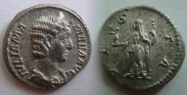 Ancient Coins - Julia Mamaea Denarius.Vesta standing left