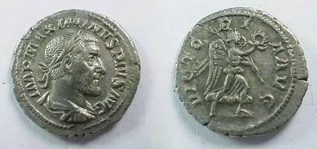Ancient Coins - Maximinus Thrax Denarius.   VICTORIA AVG, Victory running right.