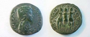 Ancient Coins - Julia Domna Æ25 of Marcianopolis, Moesia Inferior.  The Three Graces, nude, dancing together, the left one tips a jug, the right holds a wreath.