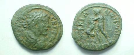 Ancient Coins - Septimius Severus AE20 of Marcianopolis. Hercules standing left, wrestling Nemean lion.