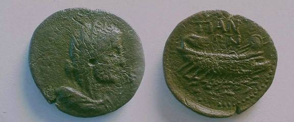 Ancient Coins - Bithynia, Tion, AE22.  TIAN-WN, galley rowing left over waves.