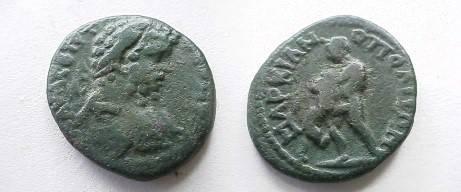 Ancient Coins - Septimius Severus AE20 of Markianopolis.  Hercules wresting the Nemean Lion left.